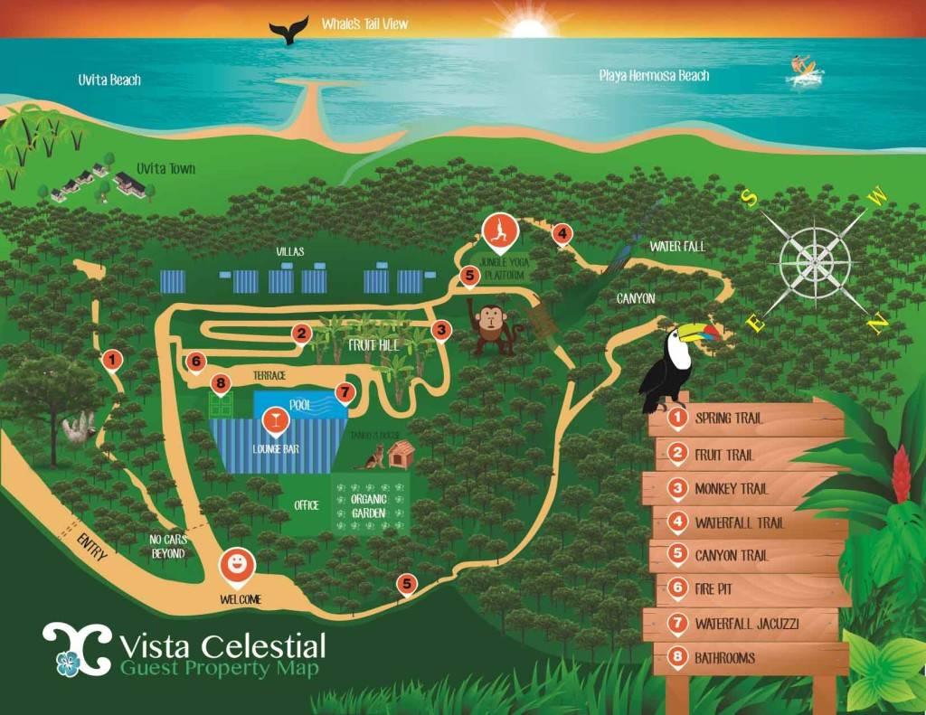 Uvita Costa Rica Tourist Map Costa Ballena Vista Celestial Hotel